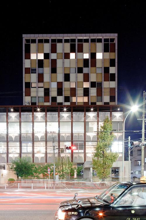 Tokyo, December 10 2010 - Claska Hotel by night, in the Meguro district.
