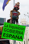 "Expression of the Spanish trade unions against cuts and closures of public services.Banner with the slogan ""The Inquisition in Spain governs""..(Alterphotos/Ricky)"