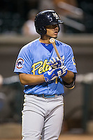 Gleyber Torres (1) of the Myrtle Beach Pelicans prepares to step into the batters box against the Winston-Salem Dash at BB&T Ballpark on September 9, 2015 in Winston-Salem, North Carolina.  The Dash defeated the Pelicans 4-2 to take a 1-0 lead in the best of 3 series. (Brian Westerholt/Four Seam Images)
