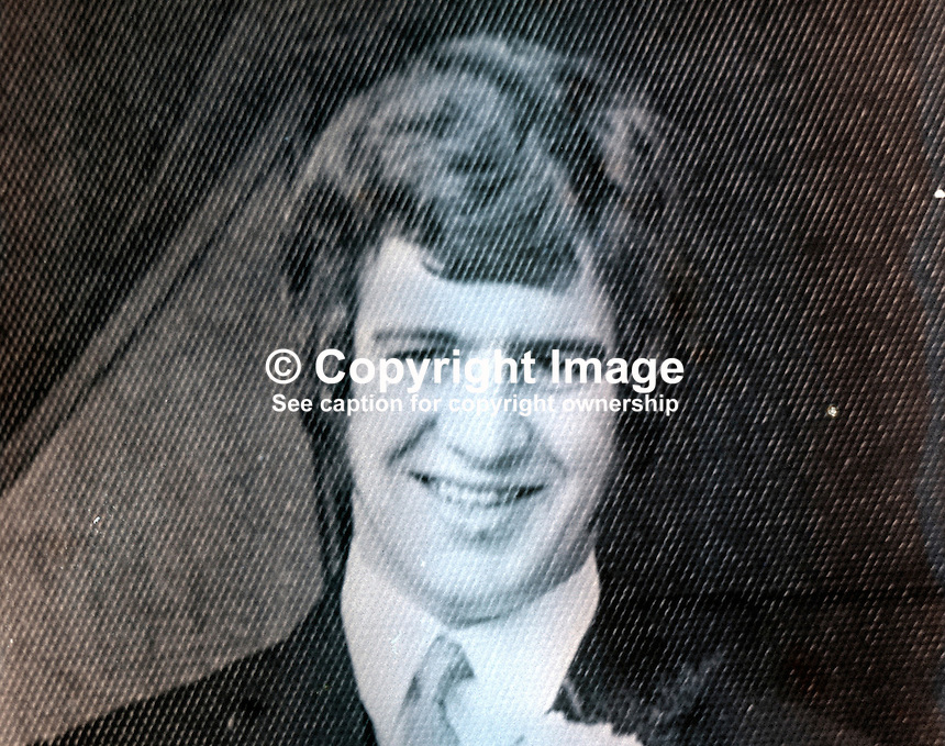 George McCall, 22 years, Protestant, from Moy, Co Tyrone, who was shot dead by the Provisional IRA as he walking home from a Saturday night drink in the village. He was accompanied by his wife who was uninjured. Mc McCall was a former member of the UDR, Ulster Defence Regiment. 197508030600<br /> <br /> Copyright Image from Victor Patterson, 54 Dorchester Park, Belfast, UK, BT9 6RJ<br /> <br /> t1: +44 28 9066 1296<br /> t2: +44 28 9002 2446<br /> m: +44 7802 353836<br /> <br /> e1: victorpatterson@me.com<br /> e2: victorpatterson@gmail.com<br /> <br /> IMPORTANT: My Terms and Conditions of Business are at www.victorpatterson.com