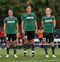 Abby Wambach Sarah Huffman, Becky Sauerbrunn     Boston Breakers vs. MagicJack at the FAU Field  Boca Raton, FL August 17, 2011 WPS First Round Playoffs