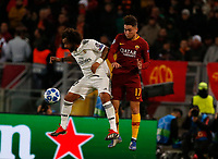 Marcelo of Real Madrid  and Cenzig Under of AS Roma  during the Champions League Group  soccer match between AS Roma - Real Madrid  at the Stadio Olimpico in Rome Italy 27 November 2018