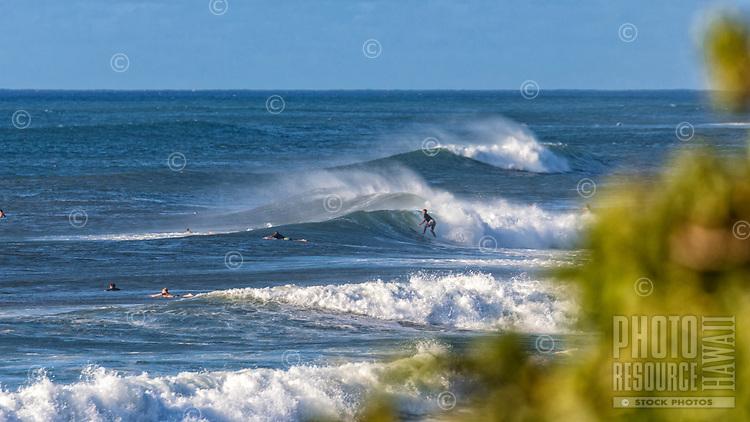 Surfers take advantage of an early season swell at 'Ehukai Beach Park on O'ahu's iconic North Shore.