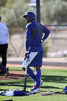 Yasiel Puig of the Los Angeles Dodgers participates in spring training workouts at Camelback Ranch on February 11, 2014 in Glendale, Arizona (Bill Mitchell)