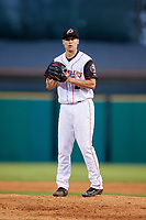 Arkansas Travelers starting pitcher Brett Ash (26) gets ready to deliver a pitch during a game against the Midland RockHounds on May 25, 2017 at Dickey-Stephens Park in Little Rock, Arkansas.  Midland defeated Arkansas 8-1.  (Mike Janes/Four Seam Images)