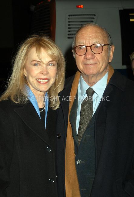 Writer Neil Simon and wife arrive at the special screening of TNT's 'The Goodbye Girl' in New York City. January 12 2004. Please byline: AJ SOKALNER/NY Photo Press.   ..*PAY-PER-USE*      ....NY Photo Press:  ..phone (646) 267-6913;   ..e-mail: info@nyphotopress.com