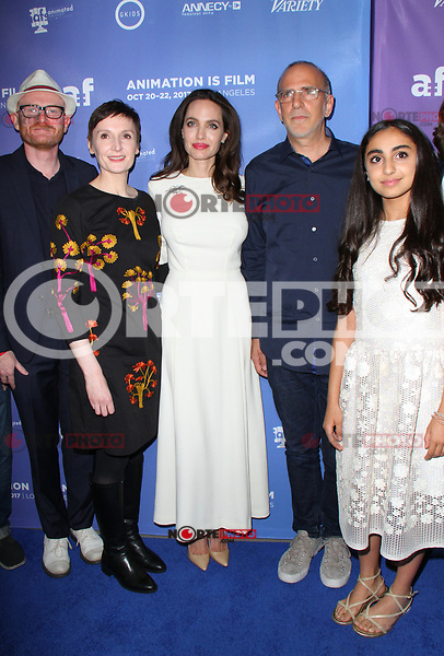 HOLLYWOOD, CA - OCTOBER 20:  Nora Twomey, Angelina Jolie, Eric Beckman, Saara Chaudry, at Premiere Of Gkids' 'The Breadwinner' At TCL Chinese 6 Theatres in Hollywood, California on October 20, 2017. Credit: Faye Sadou/MediaPunch /NortePhoto.com