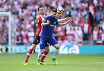 Olivier Giroud of Chelsea is challenged by Maya Yoshida of Southampton during the FA cup semi-final match at Wembley Stadium, London. Picture date 22nd April, 2018. Picture credit should read: Robin Parker/Sportimage