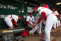 Members of the Springfield Cardinals warm up in the dugout prior to a game against the Tulsa Drillers at Hammons Field on May 4, 2013 in Springfield, Missouri. (David Welker/Four Seam Images)