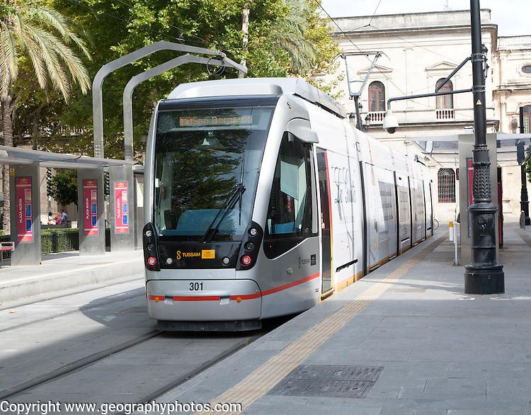 Modern Metro-Centro tram transport system station at Plaza Nueva central Seville, Spain