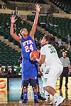 Texas Arlington Mavericks guard Eboni Watkins (24) and North Texas Mean Green forward Alexis Hyder (33) in action during the game between the Texas Arlington Mavericks and the North Texas Mean Green at the Super Pit arena in Denton, Texas. UTA defeats UNT 59 to 50...