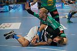 06.10.2019, Klingenhalle, Solingen,  GER, 1. HBL. Herren, Bergischer HC vs. TSV GWD Minden, <br /> <br /> im Bild / picture shows: <br /> CHRISTOFFER RAMBO (Minden #9), versucht Max Darj (BHC #5), den Ball abzunehmen<br /> <br /> <br /> Foto © nordphoto / Meuter