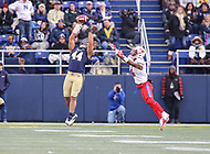 Annapolis, MD - November 11, 2017: Navy Midshipmen linebacker Micah Thomas (44) intercepts a pass during the game between SMU and Navy at  Navy-Marine Corps Memorial Stadium in Annapolis, MD.   (Photo by Elliott Brown/Media Images International)