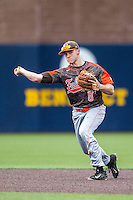 Bowling Green Falcons shortstop Cody Callaway (8) makes a throw to first base against the Michigan Wolverines on April 6, 2016 at Ray Fisher Stadium in Ann Arbor, Michigan. Michigan defeated Bowling Green 5-0. (Andrew Woolley/Four Seam Images)