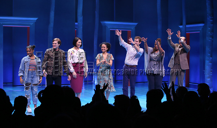 Treshelle Edmond, John McGinty, Julee Cerda, Lauren Ridloff, Joshua Jackson, Kecia Lewis and Anthony Edwards during the Broadway opening night performance Curtain Call for 'Children of a Lesser God' at Studio 54 Theatre on April 11, 2018 in New York City.