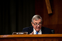 """United States Senator Dick Durbin (Democrat of Illinois) speaks during a US Senate Judiciary Committee Hearing """"to examine COVID-19 fraud, focusing on law enforcement's response to those exploiting the pandemic"""" on Capitol Hill in Washington, DC on June 9, 2020. <br /> Credit: Erin Schaff / Pool via CNP/AdMedia"""