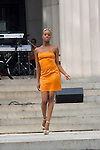 "Model wearing TBA Clothing by William Fleet at ""A Great Day In Harlem"" Urban Fashion Fusion Showcase, NY 7/25/10"