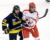 Justin Bonitatibus (Merrimack - 17), Corey Trivino (BU - 10) - The Boston University Terriers defeated the Merrimack College Warriors 6-4 (EN) on Saturday, January 16, 2010, at Agganis Arena in Boston, Massachusetts.