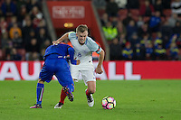 James Ward-Prowse (Southampton) of England battles with Federico Di Francesco (Bologna) of Italy during the Under 21 International Friendly match between England and Italy at St Mary's Stadium, Southampton, England on 10 November 2016. Photo by Andy Rowland.