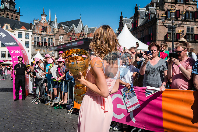 Giro d'Italia trophy before the start at Nijmegen, stage 3 from Nijmegen to Arnhem running 190 km of the 99th Giro d'Italia (UCI WorldTour), The Netherlands, 8 May 2016. Photo by Pim Nijland / PelotonPhotos.com | All photos usage must carry mandatory copyright credit (Peloton Photos | Pim Nijland)