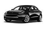 Stock pictures of low aggressive front three quarter view of a 2018 Tesla Model 3 Long Range 4 Door Sedan