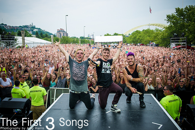 David Boyd, Søren Hansen, and Louis Vecchio of New Politics performs at the 2014 Bunbury Music Festival in Cincinnati, Ohio