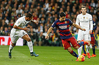 Real Madrid´s Danilo (L) and Barcelona´s Luis Suarez during 2015-16 La Liga match between Real Madrid and Barcelona at Santiago Bernabeu stadium in Madrid, Spain. November 21, 2015. (ALTERPHOTOS/Victor Blanco) /NortePhoto