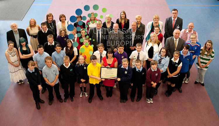 Larkhall is the first community in Scotland to receive an award for its efforts to tackle sectarianism. Nil By Mouth awards its 'Champion for Change' charter mark to the Larkhall Learning Community at Larkhill Academy today...Picture: Jonathan Faulds / Universal News And Sport (Europe)