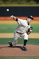Wake Forest Demon Deacons starting pitcher Drew Loepprich (23) delivers a pitch to the plate against the Richmond Spiders at David F. Couch Ballpark on March 6, 2016 in Winston-Salem, North Carolina.  The Demon Deacons defeated the Spiders 17-4.  (Brian Westerholt/Four Seam Images)