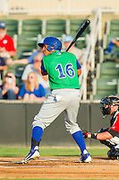 Michael Antonio (16) of the Lexington Legends at bat against the Kannapolis Intimidators at CMC-Northeast Stadium on July 29, 2013 in Kannapolis, North Carolina.  The Intimidators defeated the Legends 10-5.  (Brian Westerholt/Four Seam Images)