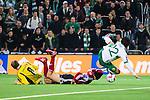 Stockholm 2014-03-04 Fotboll Svenska Cupen Hammarby IF - &Auml;ngelholms FF :  <br /> &Auml;ngelholms m&aring;lvakt Matt Pyzdrowski har r&auml;ddat en m&aring;lchans f&ouml;r Hammarbys Lars Mendonca Fuhre <br /> (Foto: Kenta J&ouml;nsson) Nyckelord:  HIF Bajen &Auml;ngelholm