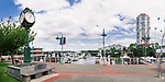 Panoramic view of Nanaimo Waterfront harbour and a clock. Vancouver Island, British Columbia, Canada 2017.
