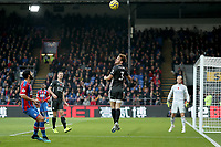 3rd November 2019; Selhurst Park, London, England; English Premier League Football, Crystal Palace versus Leicester City; Ben Chilwell of Leicester City heads the ball clear - Strictly Editorial Use Only. No use with unauthorized audio, video, data, fixture lists, club/league logos or 'live' services. Online in-match use limited to 120 images, no video emulation. No use in betting, games or single club/league/player publications