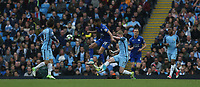 Leicester City's Riyad Mahrez is tackled by Manchester City's Kevin De Bruyne<br /> <br /> Photographer Stephen White/CameraSport<br /> <br /> The Premier League - Manchester City v Leicester City - Saturday 13th May 2017 - Etihad Stadium - Manchester<br /> <br /> World Copyright &copy; 2017 CameraSport. All rights reserved. 43 Linden Ave. Countesthorpe. Leicester. England. LE8 5PG - Tel: +44 (0) 116 277 4147 - admin@camerasport.com - www.camerasport.com