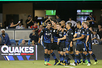 San Jose, CA - Saturday August 05, 2017: Chris Wondolowski, Tommy Thompson during a Major League Soccer (MLS) match between the San Jose Earthquakes and the Columbus Crew at Avaya Stadium.