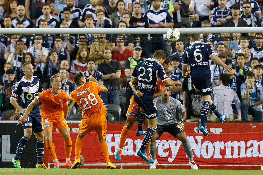 Leigh BROXHAM of the Victory heads the ball in the round seven match between Melbourne Victory and Brisbane Roar in the Australian Hyundai A-League 2014-15 season at Etihad Stadium, Melbourne, Australia.