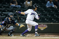Ronald Bueno (4) of the Winston-Salem Dash follows through on his swing against the Myrtle Beach Pelicans at BB&T Ballpark on May 11, 2017 in Winston-Salem, North Carolina.  The Pelicans defeated the Dash 9-7.  (Brian Westerholt/Four Seam Images)