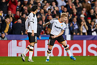 27th November 2019; Mestalla, Valencia, Spain; UEFA Champions League Footballl,Valencia versus Chelsea; Daniel Wass of Valencia CF celebrates after scoring the second goal for his team in minute 82' (2-2) - Editorial Use