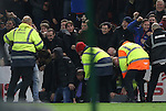 Liverpool fans are caught out as a pitch side digital ad board collapses during the English Premier League match at the Riverside Stadium, Middlesbrough. Picture date: December 14th, 2016. Pic Simon Bellis/Sportimage