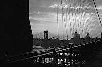 View from Brooklyn Bridge of East River and Manhattan Bridge