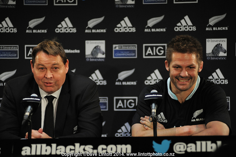 Steve Hansen and Richie McCaw front the post-match presser after The Rugby Championship match between the New Zealand All Blacks and Australia Wallabies at Eden Park, Auckland, New Zealand on Saturday, 23 August 2014. Photo: Dave Lintott / lintottphoto.co.nz