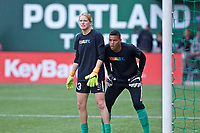 Portland, OR - Saturday June 17, 2017: Britt Eckerstrom, Adrianna Franch during a regular season National Women's Soccer League (NWSL) match between the Portland Thorns FC and Sky Blue FC at Providence Park.