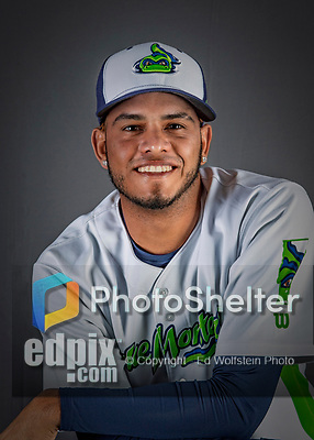 11 June 2019: Vermont Lake Monsters pitcher Angello Infante poses for a portrait on Photo Day at Centennial Field in Burlington, Vermont. The Lake Monsters are the Single-A minor league affiliate of the Oakland Athletics and play a short season in the NY Penn League Stedler Division. Mandatory Credit: Ed Wolfstein Photo *** RAW (NEF) Image File Available ***