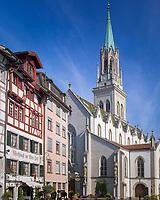 Schweiz, Kanton St. Gallen, St. Gallen: Klosterviertel mit der St. Laurenzenkirche | Switzerland, Canton St. Gallen, St. Gallen: St Laurenzen church at monastery quarter