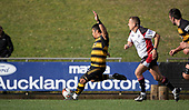 Ki Anufe attempts to kick an early penalty for Bombay.  Counties Manukau Premier 1 McNamara Cup Final between Ardmore Marist and Bombay, played at Navigation Homes Stadium on Saturday July 20th 2019.<br />  Bombay won the McNamara Cup for the 5th time in 6 years, 33 - 18 after leading 14 - 10 at halftime.<br /> Photo by Richard Spranger.