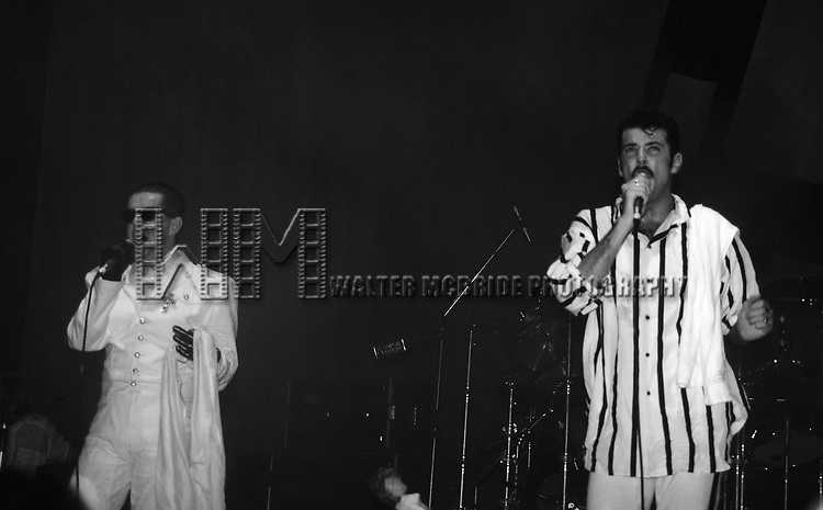 Holly Johnson and Paul Rutherford from Frankie Goes to Hollywood pictured performing at The Ritz in New York City in November, 1984.
