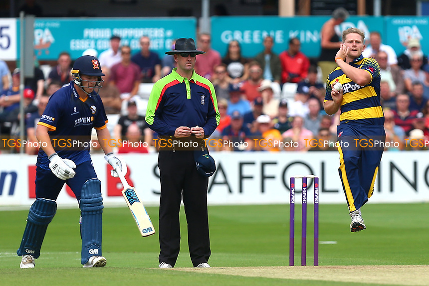 Timm van der Gugten in bowling action for Glamorgan during Essex Eagles vs Glamorgan, NatWest T20 Blast Cricket at The Cloudfm County Ground on 16th July 2017