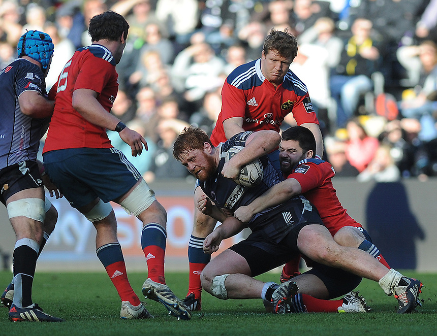 Ospreys' Dan Baker in action during todays match<br /> <br /> Photographer Ashley Crowden/CameraSport<br /> <br /> Rugby Union - Guinness PRO12 - Ospreys v Munster - Saturday 7th March 2015 - The Liberty Stadium - Swansea<br /> <br /> &copy; CameraSport - 43 Linden Ave. Countesthorpe. Leicester. England. LE8 5PG - Tel: +44 (0) 116 277 4147 - admin@camerasport.com - www.camerasport.com