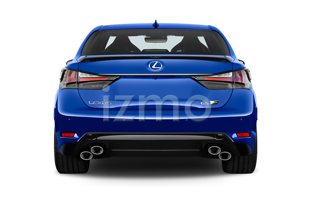 Straight rear view of a 2018 Lexus GS F 4 Door Sedan stock images