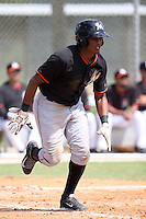 Miami Marlins infielder Erwin Almonte #86 at bat during an Instructional League intramural game on September 30, 2014 at Roger Dean Complex in Jupiter, Florida.  (Stacy Jo Grant/Four Seam Images)